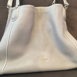 Large Coach Shoulder Purse Bag Cream / Beige